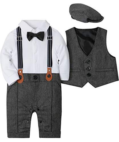 SANMIO Baby Jungen Bekleidung Set, Taufe Junge 3tlg with Fliege + Weste + Hut Gentleman Langarm Anzug Outfit für Festlich Geburtstag Hochzeit,13-20 Monate(Körpergröße 90),Grau