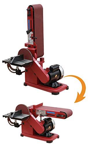 Huanyu Vertikale Bandschleifer Faltbare 1420 RPM Schärfmaschine 0~90 ° Elektrische Schleifmühle Polierschleifer mit Winkel Lineal zum Fräsen von Holz/Kunststoff/Aluminium/Stahl/Eisen