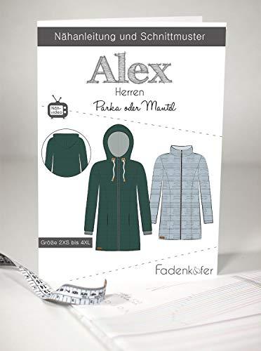 Schnittmuster Fadenkäfer Parka oder Mantel Alex Herren Gr.2XS - 4XL Papierschnittmuster