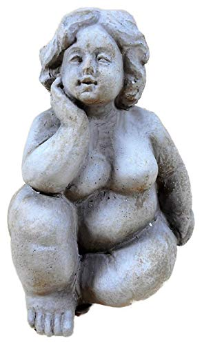 N / A Skulptur Dicke nackte Frau sitzt 16 x 11 cm Madame Steinguss Figur Deko Garten E218