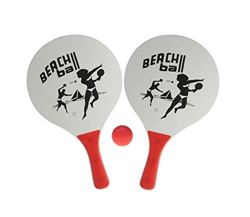 Sonnenscheinschuhe® Beachball Set: 2 Schläger und 1 Ball - Strand Tennis Strandspiel Groß/Weiß