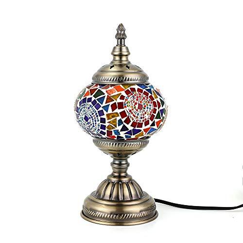 Lámpara Turca Mesa Mosaico de cristal hecho a Mano, Bombilla LED Incluida (Multicolor)