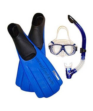 Unrealfind Mask, Semi Dry Snorkel, and Fin Package for Snorkeling Set Gear Travel Fins, Black, 11-13 Mens, 12-14 WMNS