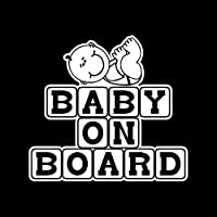 アウトドア ステッカー 15.8cm X 14.4cmの赤ちゃんの上のベイブロック玩具窓ステッカービニール車デカール黒/銀 アウトドア ステッカー (Color Name : Silver)