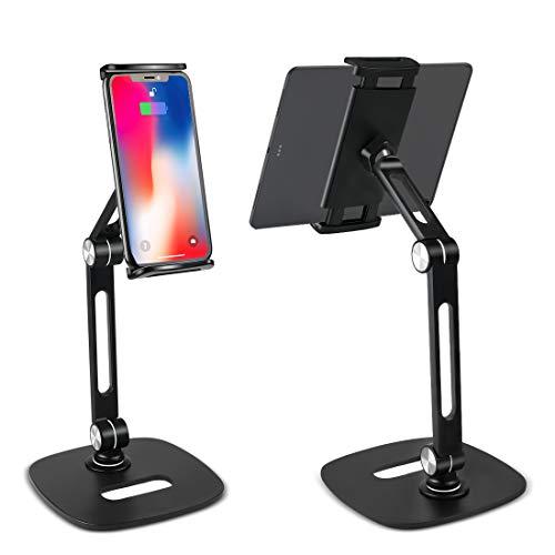 Soporte para tableta de múltiples ángulos, altura ajustable, giratorio de 360 °, base de montaje en cuna de aleación de aluminio para pantalla de 4 '-12.9' iPhone, iPad, Nintendo Switch, Kindle