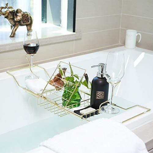 DAILYLIFE Chrome Plated Steel Caddy Tray, Stainless,Polished & Gold Bathtub Caddy for Shower & Bath, Phone, Pad, Book Holder, Goblet Holder, Bath Tray, Bathtub Table Shelf, Caddy Rack, Table Tray