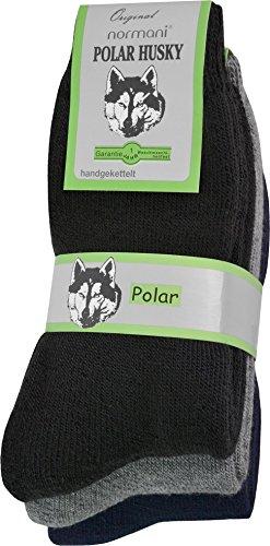 Polar Husky® 3 Paar Thermosocken Socken. Super Flauschige warme - Skisocken Farbe Schwarz-Grau-Blau Größe 39/42
