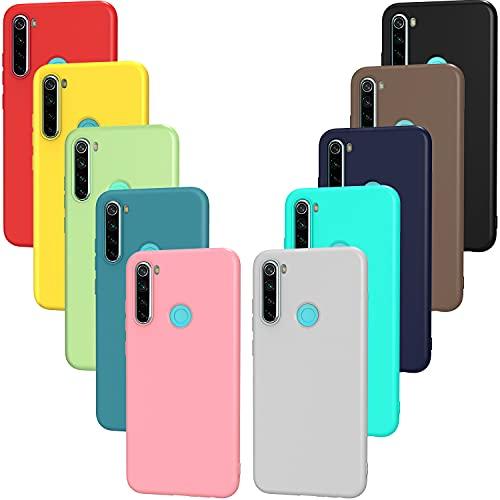 ivoler 10x Hülle für Xiaomi Redmi Note 8T, Ultra Dünn Tasche Schutzhülle Weiche TPU Silikon Handyhülle Hülle Cover (Schwarz, Weiß, Blau, Grün, Dunkelgrün, Rosa, Rot, Gelb, Braun, Lila)