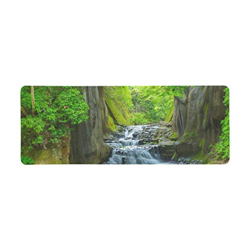 InterestPrint Soft Extra Extended Large Gaming Mouse Pad with Stitched Edges, Desk Pad Keyboard Mat, Non-Slip Base for Office & Home, 31.5 x 12In - Waterfall in The Mountains Rain Forest