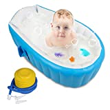 【Upgraded】Baby Inflatable Bathtub with Air Pump, FLYMEI Portable Infant Toddler Non Slip Bathing Tub Travel Bathtub Mini Air Swimming Pool Kids Thick Foldable Shower Basin, Baby Shower Gifts