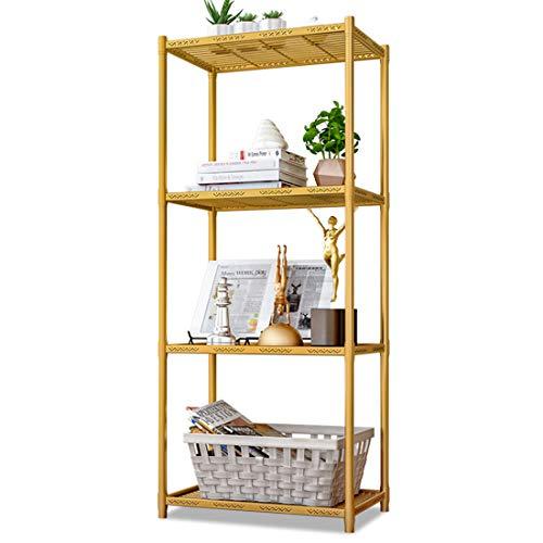 LWKBE 4-Ebenen-Küchen-Mikrowellen-Lagerregal-Ofen-Standregal mit Stellfüßen, freistehenden Lagerregalen für Wohnzimmer und Badezimmer,Gold