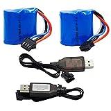 Blomiky 2 Pack 7.4V (2 x 3.7V) 600mAh Li-ion Battery with SM-4P Plug for Old Version UDI008 UD08 UDI001 Venom Speed RC Boat UDI001 Battery 2