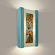 product image for A19 Abstract Wall Sconce, 4-Inch by 7.25-Inch by 13-Inch, Teal Crackle/Turquoise