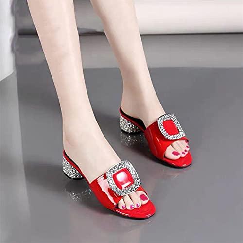 Zzple Sandalias para Mujeres Red PU Cuero Rhinestone Designer Slippers Elegante Peep Toe Luxury Diapositivas de Moda Luz Antideslizante Sandalias de Verano Sandalias de Verano