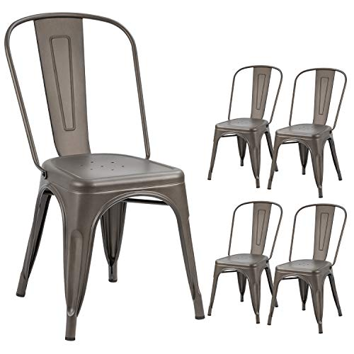 Devoko Metal Indoor-Outdoor Chairs Distressed Style Kitchen Dining Chairs Stackable Side Chairs with Back Set of 4 (Gun)