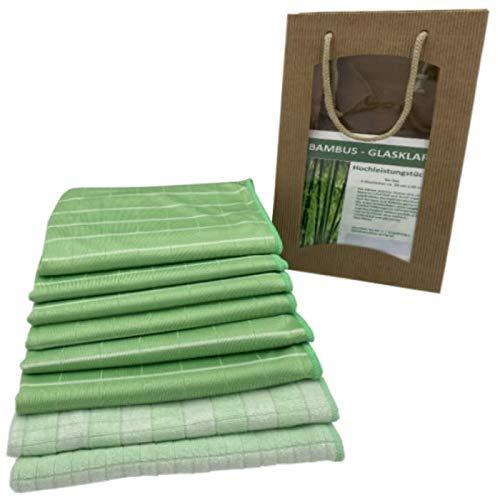 portabest Bambus Reinigung Tücher 8 er Set   Reinigungstücher waschbar wiederverwendbar   Putzlappen für Fenster   Putztücher für Bad und Küche   Bamboo Mikrofaser Tuch – Bambustuch - Hochglanztuch