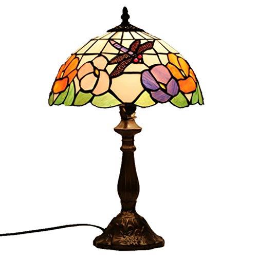 LZQTD Tiffany Style Tischlampen, grün und weiß Glasmalerei Libelle Thema Lampenschirm Retro Art Schreibtischlampe Wohnzimmer Dinner Table Nachttisch Hall Dekoration Beleuchtung