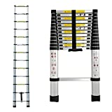 3.8m Telescopic Ladder Aluminium Extendable Portable Multi-Purpose Ladder Safety Locking Max Load 150kg for Outdoor Indoor Builder DIY Multi-Function Ladder