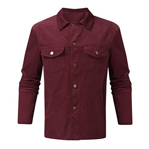 Aoogo Herren Cordhemd Button-Down Jacke Übergangsjacke Button Cord Langarm Jacke Revers Mantel Top Bluse Bomberjacke Bequeme leichte Jacke
