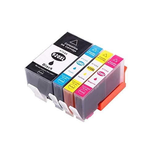 CMDZSW 4pcs 920 Cartucho de Tinta Compatible para HP 920XL para HP920 OfficeJet 6000 6500 6500A 7000 7500 7500A Impresora con Chip (Color : 1BK 1C 1Y 1M)