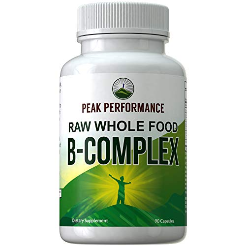 Raw Whole Food Vegan B Complex Supplement. Best B-Complex with Vitamin B1, B2, B3, B5, B6, B7, B9 and B12. Vitamins Plus 25+ Raw Whole Food Fruits and Vegetables. 90 Capsules. Energy + Stress