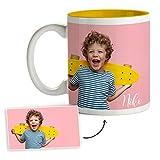 Fotoprix Tazas Personalizadas con Foto y Texto | Regalos Personalizados con Foto | Taza Personalizada con Nombre | Taza de Color Amarillo