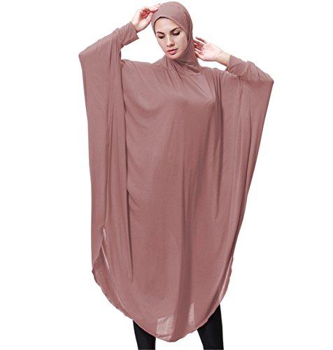 Dreamskull Damen Frauen Hijab Muslime Abaya Dubai Kleider Muslimische Islamische Kleidung Arab Arabisch Indien Türkisch Casual Abendkleid Kaftan A Linie Dress Mit Kopftuch Mehr Farben (M, Rosa)