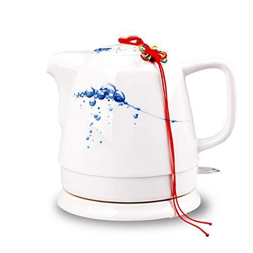 AYHa Tetera eléctrica inalámbrica de cerámica blanca Tetera-Retro 1L Jarra, 1400W Agua rápida para té, café, sopa, base extraíble de avena, protección contra hervir, B,A