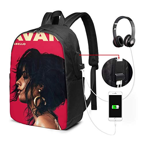 RhteGui Camila Cabello 17 Inch Laptop Backpack with USB Port, Unisex Business Backpack, School Bag