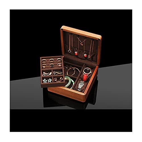 Joyero con tapa de vidrio Caja de joyería de madera Organizador 2 capas de exhibición de joyas de almacenamiento Pendiente Anillo reloj Organizador de viajes portátil para mujeres niñas Joyero de made