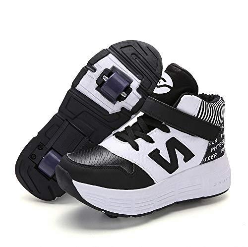 Miarui Sneakers mit Rollen Mädchen Junge Mode Rollenschuhe Unisex Skateboard Schuhe Rollen Schuhe Sportschuhe Laufschuhe mit Automatisch Verstellbares Räder Geeignet für Erwachsene und Kinder,3,41
