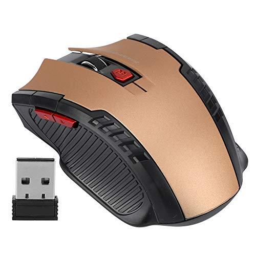ASHATA Kabellose Maus, 2,4G USB-Funkmäuse Ergonomischer optischer PC-Laptop-Computer Kabellose Maus mit Empfänger, 1600 DPI für Windows Mac MacBook Linux - Super Energy Saving(Gold)