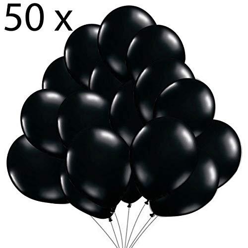 Jonami 50 Luftballons Schwarz Ballons Premiumqualität 36 cm Partyballon Deko 3,2g. Dekoration für Schwarze Party