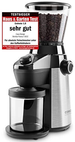 Caso Barista Flavour, elektrische Design- Kaffeemühle, Mahlgrad in 15 Stufen einstellbar, Kegelmahlwerk aus robustem Edelstahl, aromaschonend, für perfekten Kaffee & Espresso