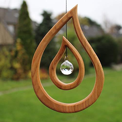 Fensterdeko aus Holz 17cm, Tautropfen mit Kristall, Fensterschmuck, zum Aufhängen
