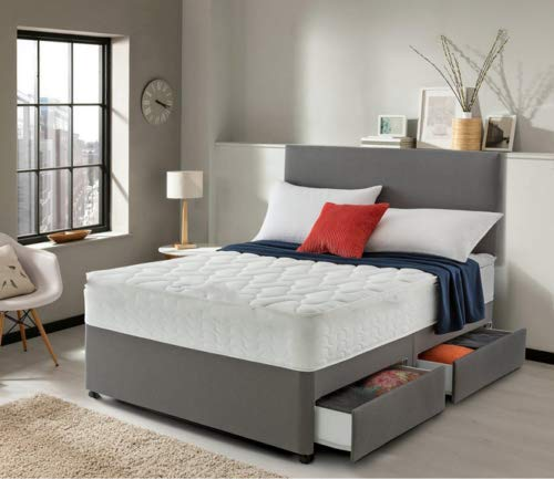 Home Furnishings UK 5ft King Size Hf4You Grey Divan Bed With Pocket Sprung Mattress - No Drawers