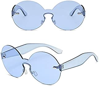 TT WARE Women Summer Colorful Round Frame Sun Glassess Outdooors Uv Protection Glasses-Blue