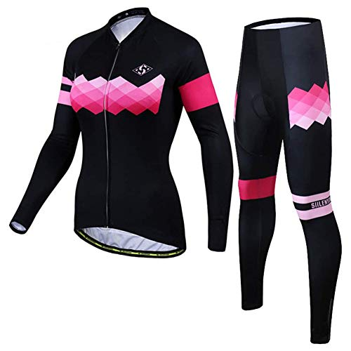 JAY Damen Frühling Herbst Fahrrad Trikot Set Fahrradbekleidung Anzüge Outdoor Rennrad MTB Langarm Sportswear Rainbow,M
