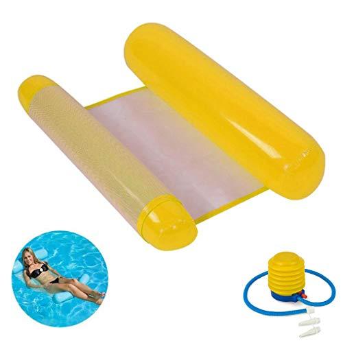 GuDoQi Hamaca Flotante Inflable del Agua Cama Flotante de Agua Hamaca del Flotador del Agua para el Partido de la Piscina de la Playa, Hechas de PVC de Calidad con Bomba de Aire (Amarillo)