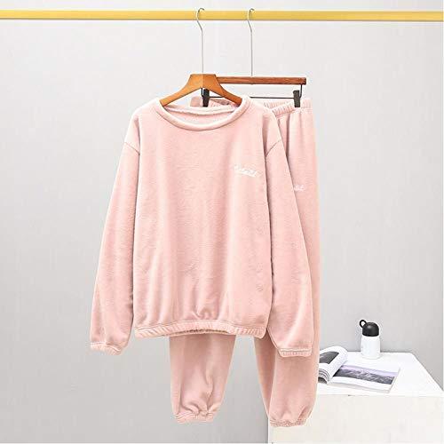 TQSDYY Invierno Cálido Felpa Rosa Pijama Traje De Mujer Terciopelo Hogar Satén Franela Suave Hogar Desgaste