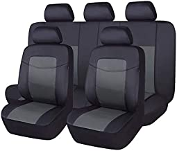Flying Banner Car Seat Covers 11 PCS Front Seats and Rear Leather Cover Waterproof Bench Black with Gray (Middle)