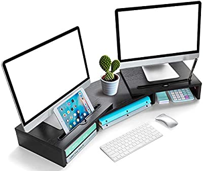 LORERGO Wooden Dual Monitor Stand with Adjustable Length & Swivel Angle 2 Extra Functional Slot Desktop Organizer Stand PC Riser Suitable for PC Monitor Laptop Printer