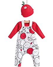 Baby & Kid Summer Overall Set, Long Sleeve Shirt. (FOR BOYS) White -Red Cherry color