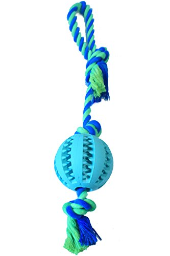 Virtually Indestructible Dog Ball With Rope Toy Durable Bite Resistant Launcher & Thrower for Playing Fetch w/ K-9 Training Chew Balls and Tug of War Launcher