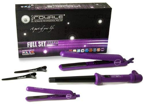 Royale Luxury Hair Styling Set Tourmaline Curling Iron + Mini Flat Iron Travel Size + Classic Hair Straightener - Top Cosmetologist Recommended Brand