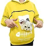 URIBAKY - Sudadera con capucha para mujer, diseño de gato amarillo XXXL