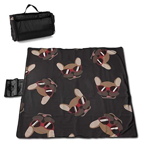 ONLED Manta grande impermeable para picnic al aire libre con gafas de sol francesas, hipster a prueba de arena, para camping, senderismo, viajes