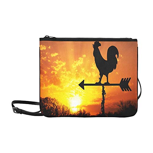 WYYWCY Rooster Wetterfahne gegen Sonnenaufgang Bright Custom hochwertigem Nylon Slim Clutch Cross Body Bag Umhängetasche