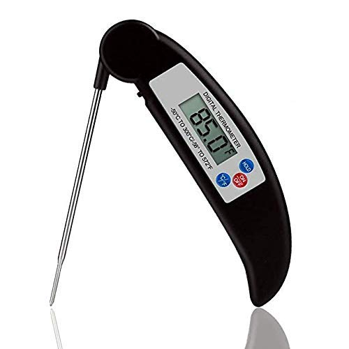 Meat Thermometer, Digital Electronic Instant Read Super Fast Accurate Food Cooking Thermometer with Collapsible Internal Probe,Best for Kitchen,Grill,BBQ,Milk,and Bath Water (Black) (Black)