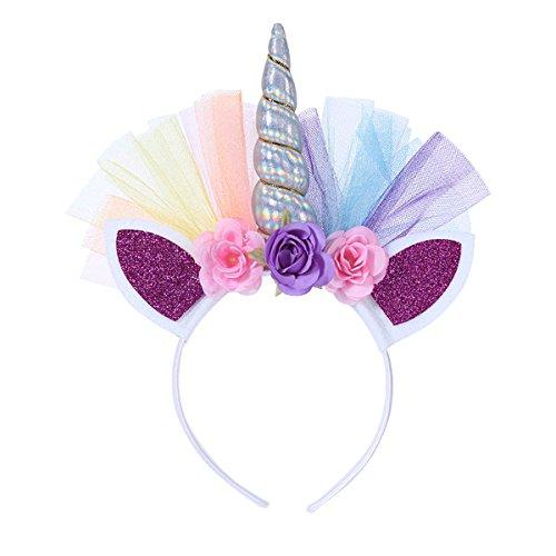 Frcolor Serre-tête Licorne Floral Bandeau Corne aux Oreilles Accessoire de Anniversaire Fête Déguisement pour Enfants (Argent)